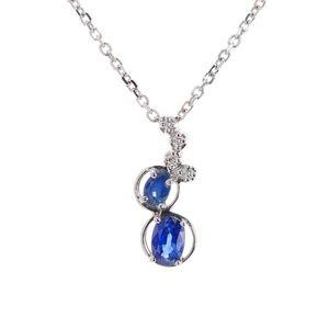 0.80 Carat Sapphire & Diamond Necklace 14K Gold